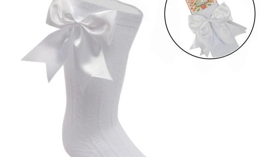Large Bow White Knee High Socks