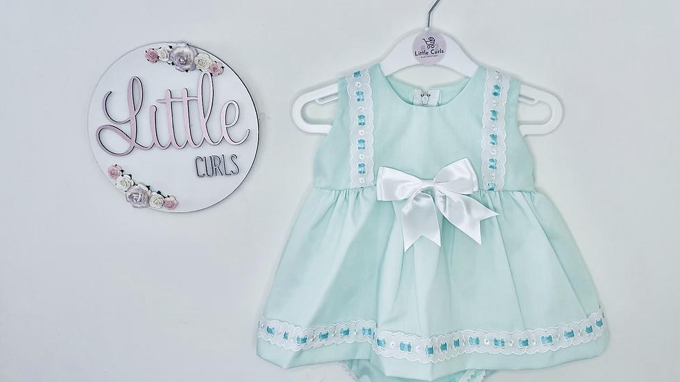 Mint green bow dress + pants