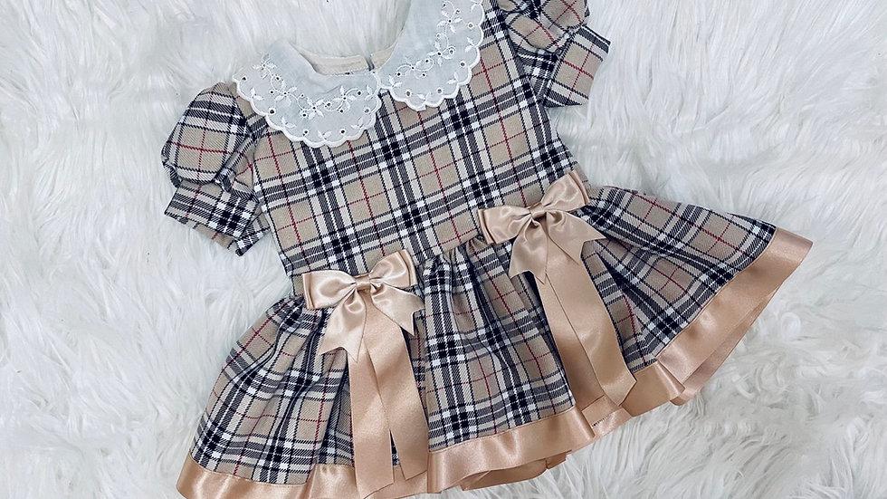 Beige Tartan Arabella dress