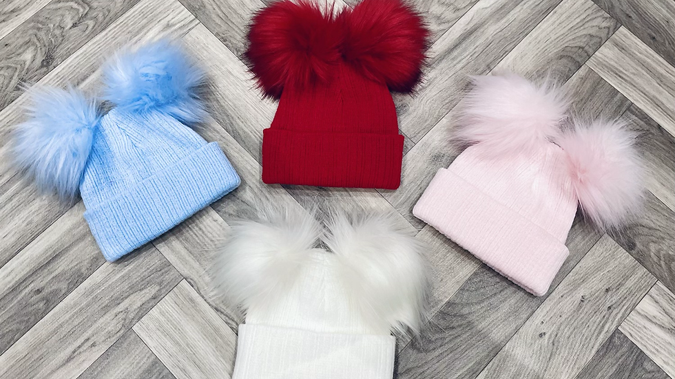 Double Pom Fur Hats