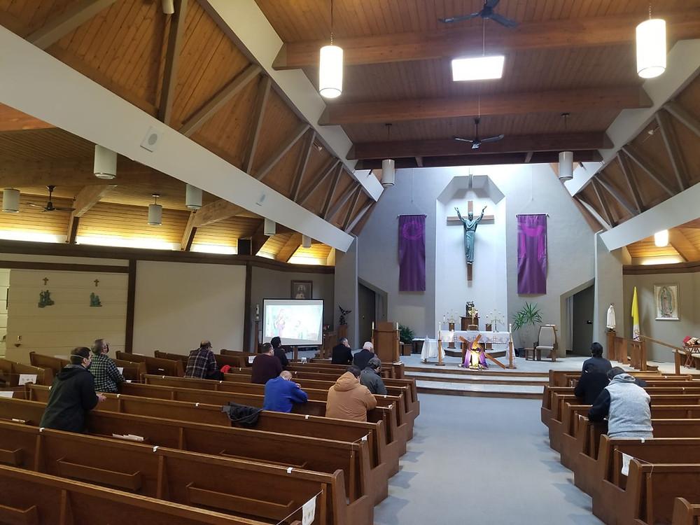 Men Praying at Retreat at St. Michaels Church