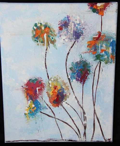 """Crazy Color Flowers"" canvas painting"