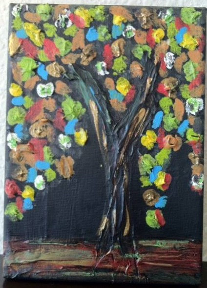 """Fall"" canvas painting with texture"