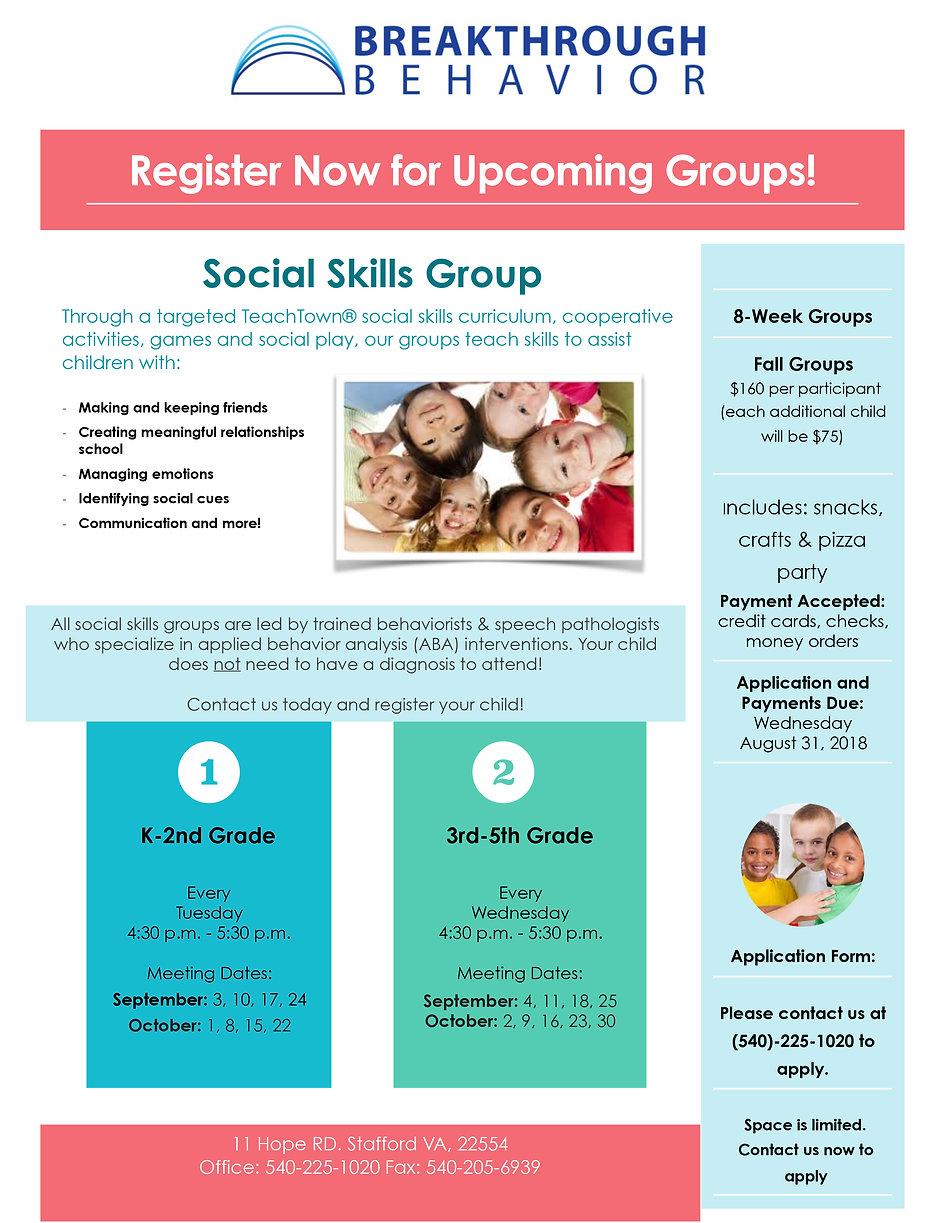 Social Group Flyer - FALL 2018_Stafford