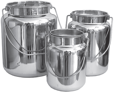 Stainless Steel Milk Carrying Cans w/ Lids