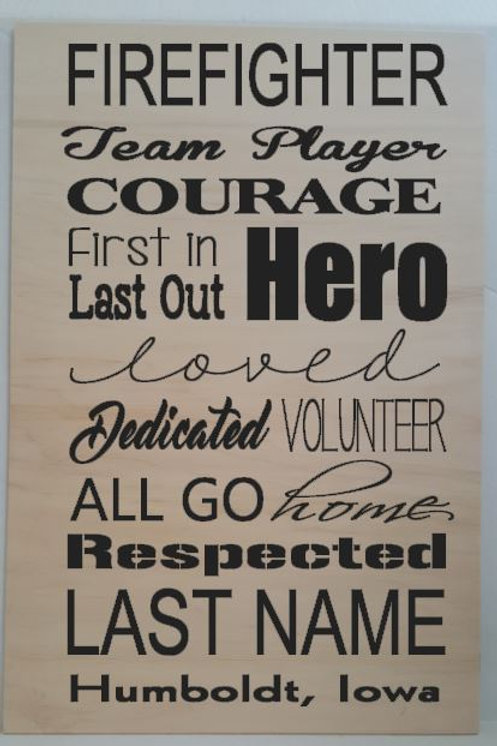 Firefighter Sign - custom