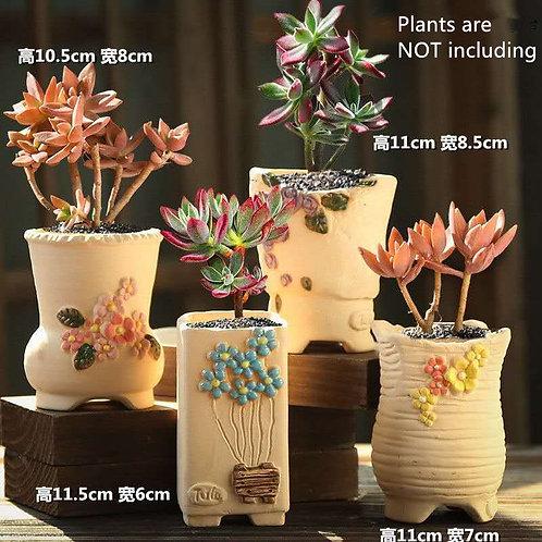 Selection of 4 Cactus Succulent Pots Ceramic Flower Plant pots Garden Handmade 2