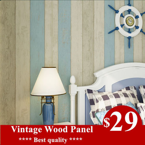 Wallpaper- Realistic Wood Optic Panelling Timber