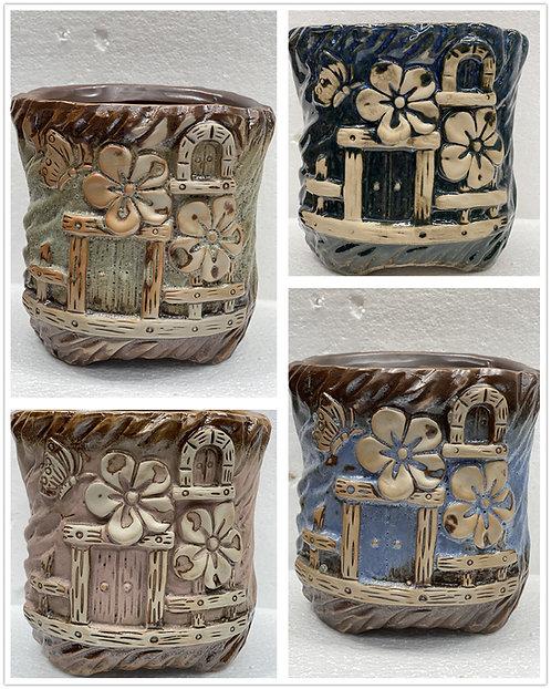 Vintage Round Hand Painted 3D flower Square Hand Painted Ceramic Succulent Pot
