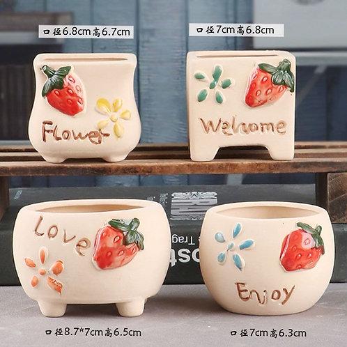 Selection of 4 Cactus Succulent Pots Ceramic Flower Plant pots Garden Stawberry