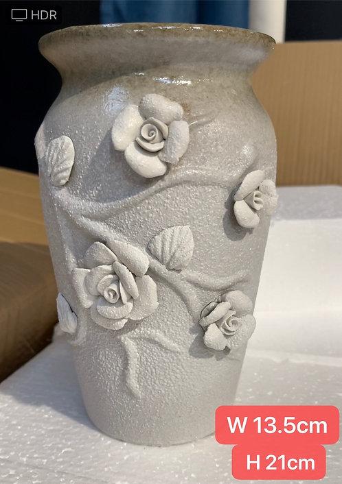 Matt Finish 3D Flower Hand made White Vase Succulent Pots