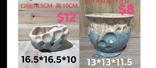 Pair Ceramic Stone Aged looking Succulent pots