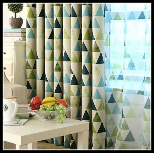 Nordic Style Curtain Moroccan Triangle Green Beige