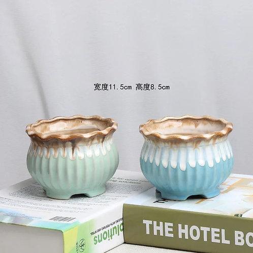 Pair Green Blue Succulents Pots Ceramic Gloss Curved 11.5cm x 8.5cm