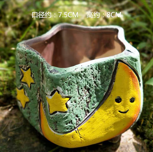 Hand painted small pots - Moon - Green 8cm height