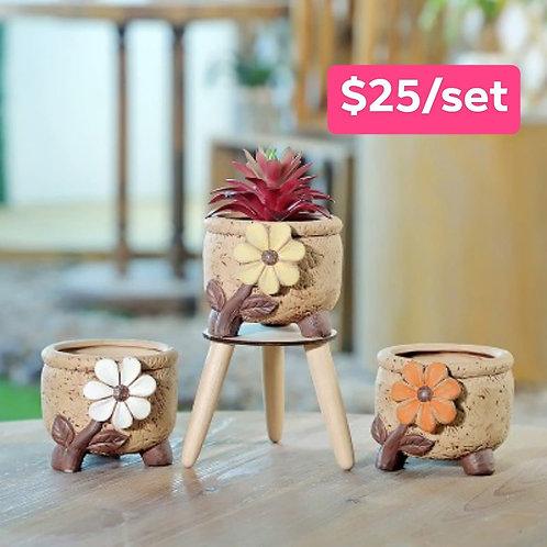 3pcs 3D Flora Ceramic Round Bowl Succulent Pots 10cm width