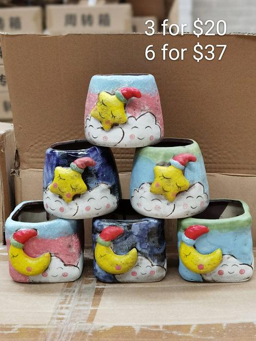Cute Small Moon & Star Ceramic pots 6pcs
