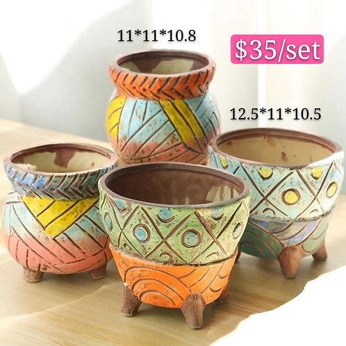 Hand made painted Ceramic Succulents Pots set of 4 12cm height
