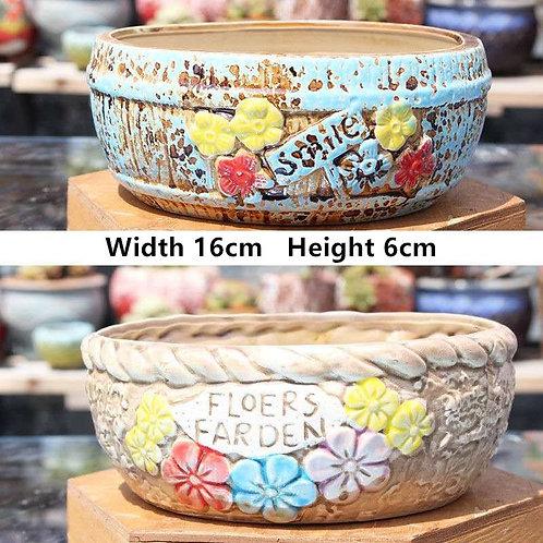 Pair Medium Cactus Succulent Pots Ceramic Flower Plant Garden Bowls 16cm x 6cm