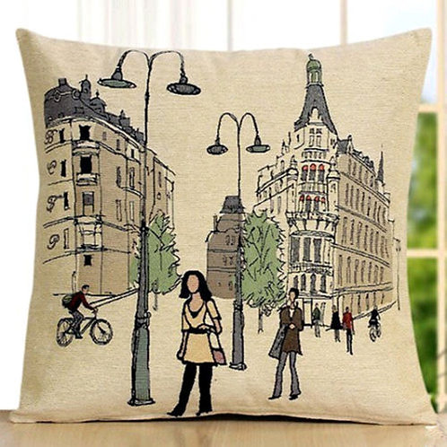 POLYESTER MIXED COTTON CUSHION COVER Street