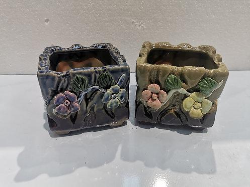 Pair 3D Flower Hand Painted Ceramic Succulents Pots Gloss Glaze #7