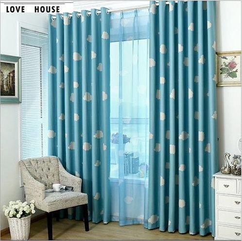 Natural Eyelet Curtain Blue Cloud Boy Kids Room