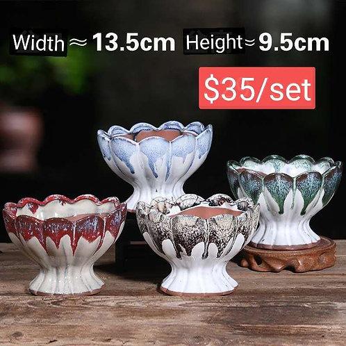 Set of 4 Large Hand painted Goblet shape Succulent pots 9.5cm width by 13.5c