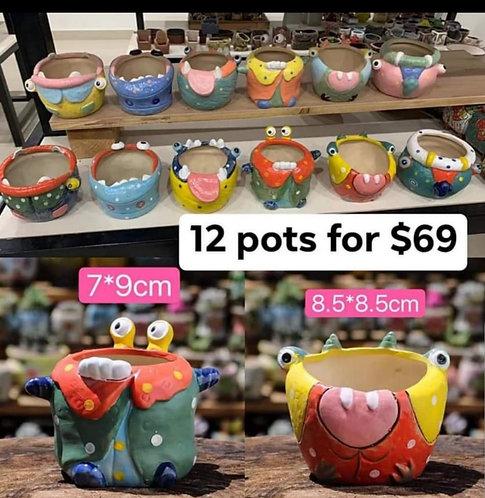 Little Monster Collection of 12 Succulent Pots Multi-color