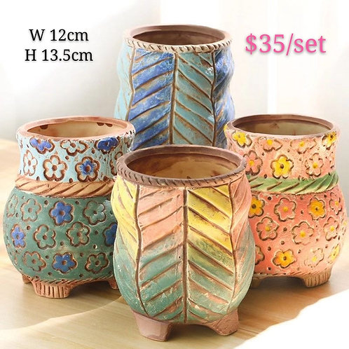 Hand made painted Ceramic Succulents Pots set of 4 13.5cm height