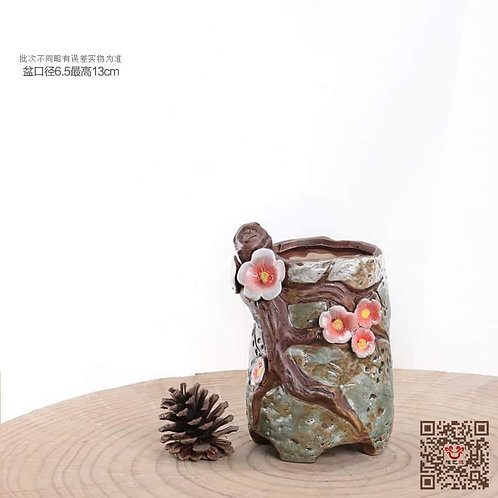 Hand Painted Green Red Flora Design 13cm x 6.5cm