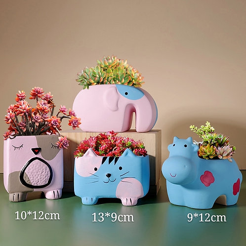 Cute Set of 4 Animals Ceramic Elephant Kitten