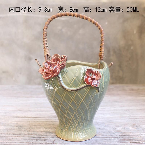 Realistic Basket Succulent Pots with handle - Tall 12cm