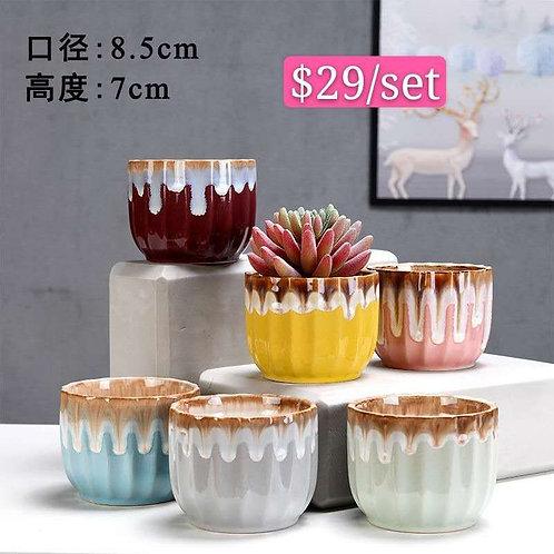 Set of 6 Matt Succulent pots Selection small 7x8cm