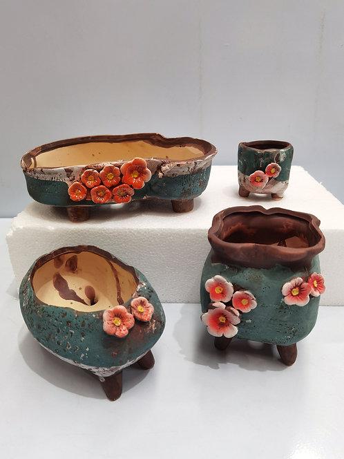 Green Set of 4 Hand Painted Plate Flower Cacti Succulent Pots Multi Shape