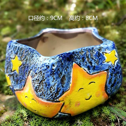 Hand painted small pots - Star - Blue 8cm height