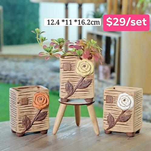 Selection set of 3 flora Ceramic 16cm x 12.4cm
