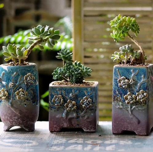 3D Flower Hand Painted Ceramic Succulents Pots Gloss Glaze #10