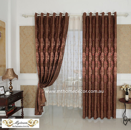 EUROPEAN QUALITY BLOCKOUT EYELET CURTAINS BURGUNDY
