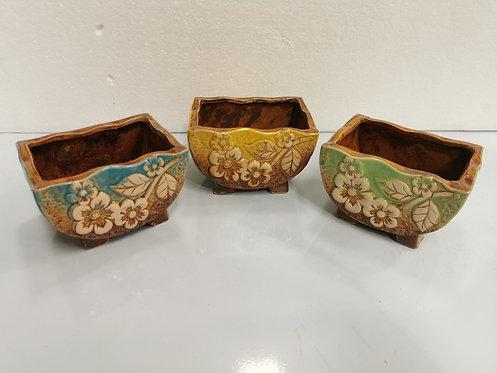 Set of 3 3D Hand Painted Ceramic Succulents Pots Rectangular