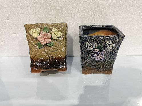 3D Flower Hand Painted Large Ceramic Round Succulents Pots Gloss Glaze #7