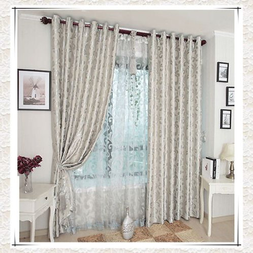 BLOCKOUT EYELET CURTAINS Silver/Golden Scroll