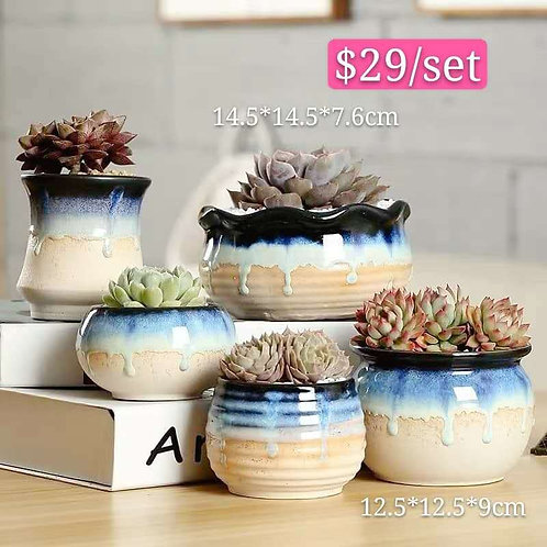 Collection of 5 Ceramic Gloss Melting Blue Ivory