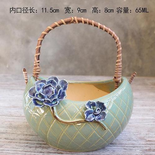 Realistic Basket Succulent Pots with handle - Green 11.5cm