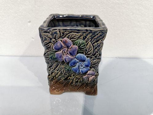 3D Flower Color Hand Painted Ceramic Succulents Pots Gloss Glaze