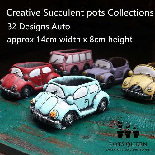 32 Designs Cacti Succulent Pots Ceramic Garden Plant Pots Hand painted Set of 4