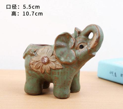Animal Collection - Ceramic Succulents Pots Green Elephant 5.5x10.7cm