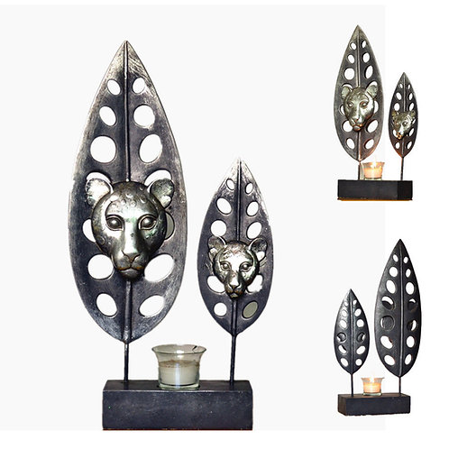 Abstract Iron Leaf Candle Holder Tealight Decor