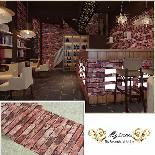 RUSTIC BRICK EFFECT WALLPAPER 3D RED BRICK