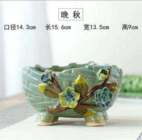 3D Flower Gloss Glaze Square Succulent / Cacti Pots 06 Green Branch