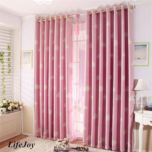 Natural Eyelet Curtain Pink Cloud Girl Kids Room